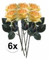 6 x kunstbloemen steelbloem geel roos simone 45 cm