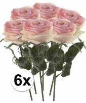6 x kunstbloemen steelbloem licht roze roos simone 45 cm