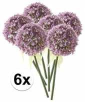 6 x kunstbloemen steelbloem lila sierui 70 cm