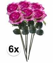6 x kunstbloemen steelbloem paars roze roos simone 45 cm