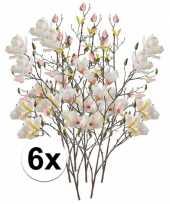 6x creme magnolia kunstbloem 105 cm