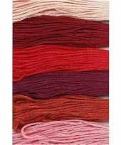 6x hobby borduurkatoen roodtinten 1mm
