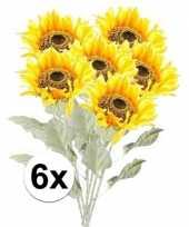 6x kunstbloemen steelbloem gele zonnenbloem 82 cm