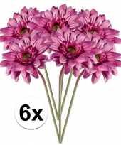 6x kunstbloemen steelbloem roze gerbera 47 cm