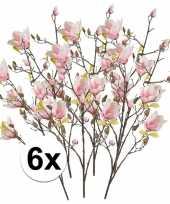 6x roze magnolia kunstbloem 105 cm