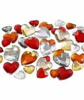 720x hobby materiaal hartvormige glitter steentjes rood mix
