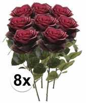 8 x kunstbloemen steelbloem donker rode roos simone 45 cm