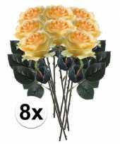 8 x kunstbloemen steelbloem geel roos simone 45 cm
