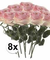 8 x kunstbloemen steelbloem licht roze roos simone 45 cm