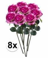 8 x kunstbloemen steelbloem paars roze roos simone 45 cm