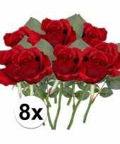8 x kunstbloemen steelbloem rode roos 30 cm