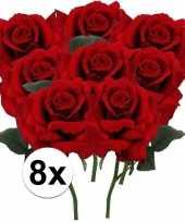 8 x kunstbloemen steelbloem rode roos deluxe 31 cm