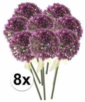 8 x kunstbloemen steelbloem roze paarse sierui 70 cm