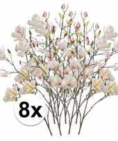 8x creme magnolia kunstbloem 105 cm