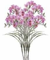 8x kunstbloemen freesia lila 63 cm