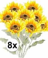 8x kunstbloemen steelbloem gele zonnenbloem 82 cm