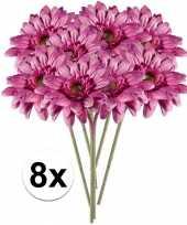 8x kunstbloemen steelbloem roze gerbera 47 cm