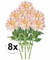 8x kunstbloemen ta roze dahlia 70 cm