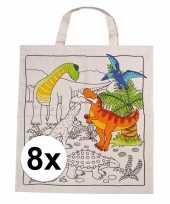 8x tasjes met dinosaurus motief van katoen
