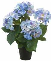 Blauwe hortensia kunstplant in kunststof pot 40 cm