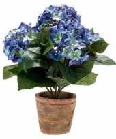 Blauwe kunstplant hortensia plant in pot 10110353