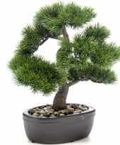 Bonsai boompje pinus parviflora kunstplant in kunststof pot 32 cm