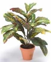 Bordeaux groene kunstplant croton plant in pot 50 cm 10109125