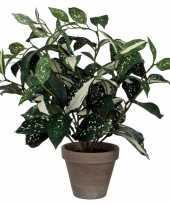 Cordyline kunstplant kamerplant groen in grijze sierpot h33 cm x d25 cm
