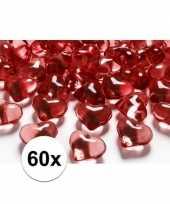 Decoratie hartjes rood 60 stuks
