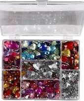 Gekleurde glimmende steentjes in doos 300 gram