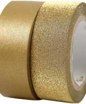 Glitter tape goud 2 rollen