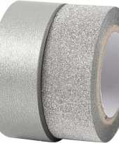 Glitter tape zilver 2 rollen