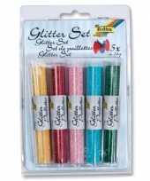 Glitterpoeder gekleurd 14 gram 5 stuks