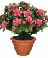 Groene azalea kunstplant met perzikkleurige bloemen 35 cm in terracotta pot