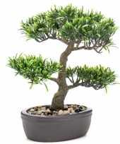 Groene kunstplant bonsai boompje 32 cm