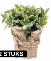 Groene kunstplant munt kruiden plant in pot 10145247