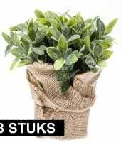Groene kunstplant munt kruiden plant in pot 10145248