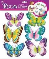 Groene paarse kinderkamer 3d vlinder stickers 6 stuks