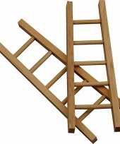 Hobby artikelen houten mini laddertjes 6 stuks