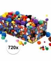 Hobby gekleurde pompoms assortiment 720 stuks