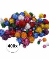 Hobby glitter pompoms assortiment 400 stuks