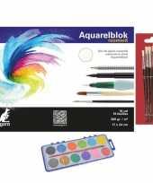 Hobby knutselen verfset 12 kleuren op waterbasis en 7 kwasten en een aquarelblok tekenblok 24 x 17 cm