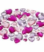 Hobby materiaal glitter steentjes paars harten mix