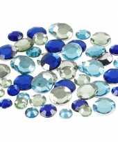 Hobby materiaal ronde glitter steentjes blauw mix