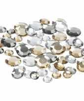 Hobby materiaal ronde glitter steentjes zilver mix