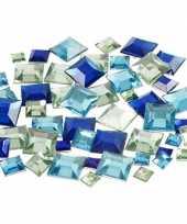 Hobby materiaal vierkante glitter steentjes blauw mix