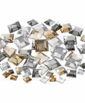 Hobby materiaal vierkante glitter steentjes zilver mix