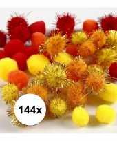 Hobby pompons 15 20 mm geel oranje rood 10107818