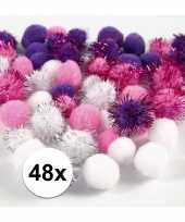 Hobby pompons 15 20 mm wit paars
