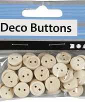 Houten decoratie knoopjes 50 stuks